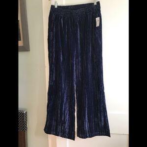 Crushed velvet wide leg pants